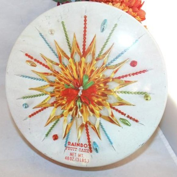 Vintage 1960s RAINBO Fruit Cake Christmas Tin